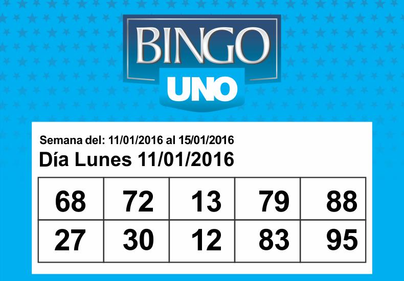 Bingo UNO: Los números del día lunes 11 de enero