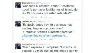 Cristina cargó contra Macri en sus últimos tuits del 2015