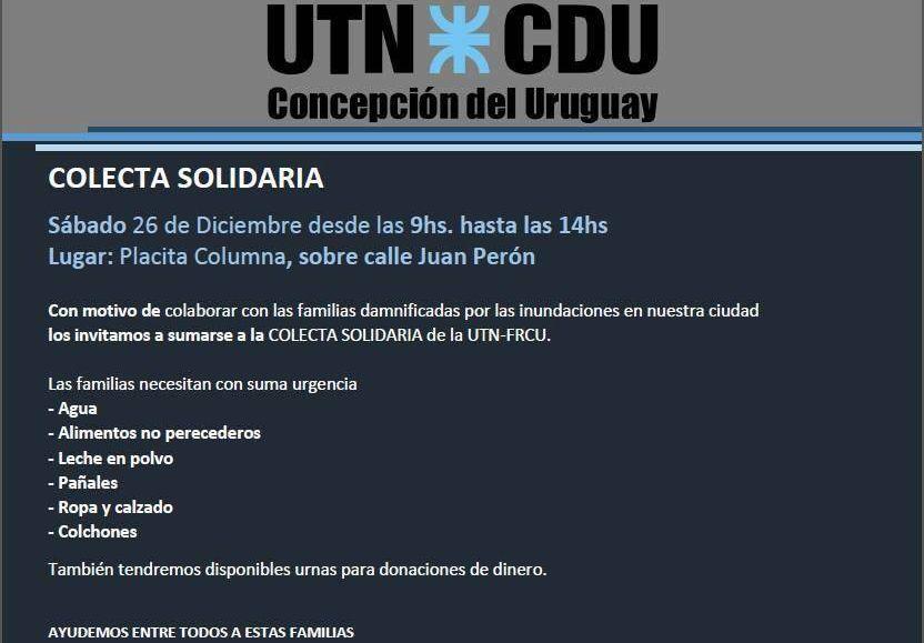 Colecta para los inundados de Concepción del Uruguay