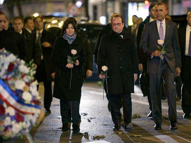 Obama fue a Le Bataclan a rendir tributo a las víctimas de la masacre de París