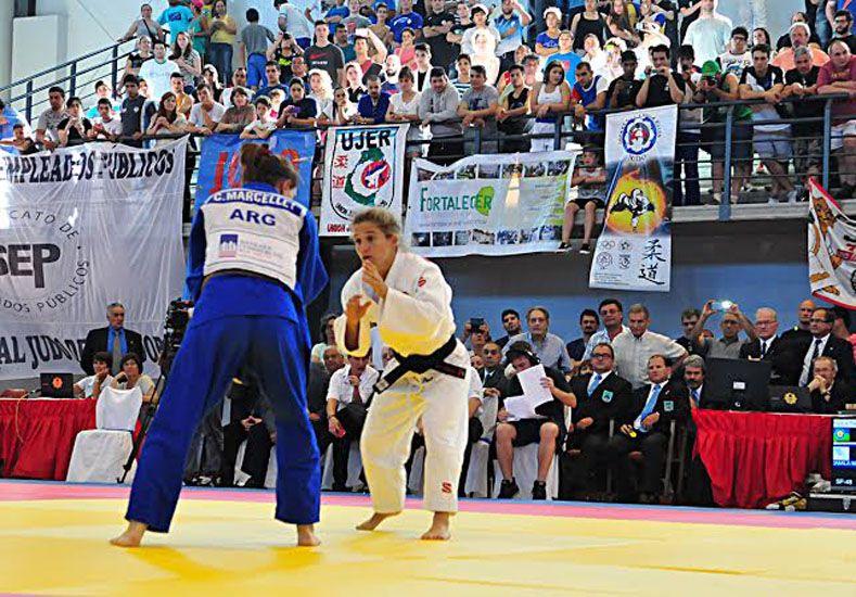La mejor judoca argentina en acción. Paula fue la gran atracción en la competencia.