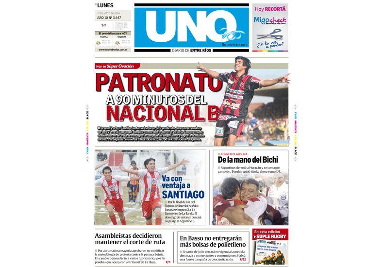 EN 2010. Santamarina y Patronato jugaron por un ascenso a la Primera B Nacional. El objetivo lo alcanzó el Rojinegro.