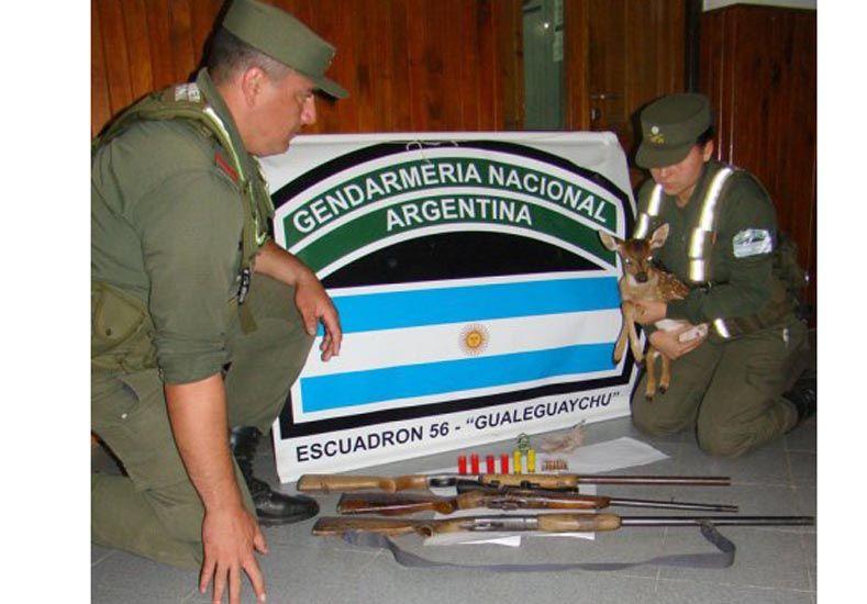 Los oficiales de Gendarmería con el ciervo rescatado