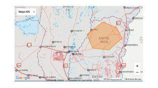 Alerta climática por tormentas fuertes en parte de Entre Ríos
