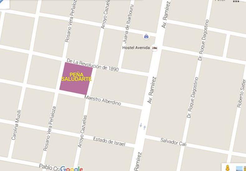 El mapa para llegar al espacio público en Lomas del Sur.