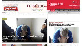 Así reflejaron los medios catamarqueños la condena de El Chacal de esa provincia.