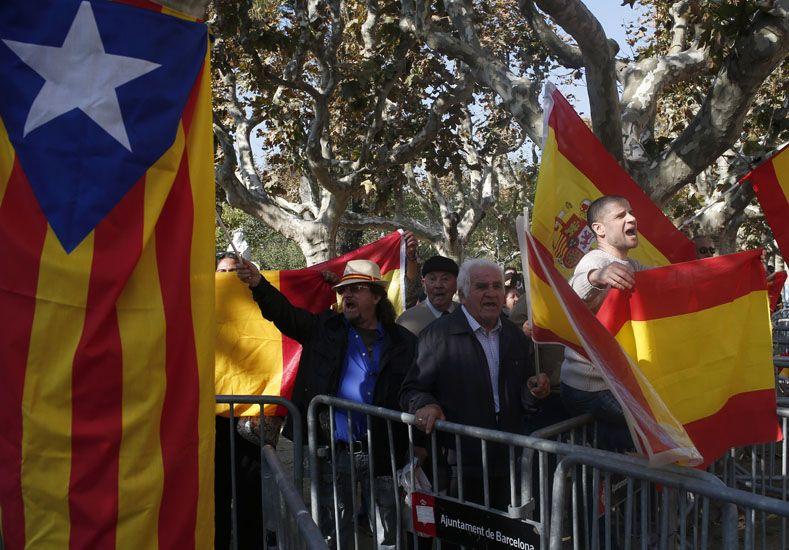 La bandera que se propone para Cataluña. Foto AP