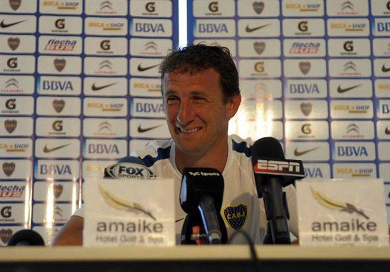 El técnico de Boca Juniors le brindó su apoyo al actual presidente antes de las elecciones en el club.  Foto: Télam
