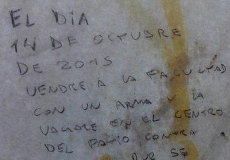 Amenaza en un baño de la UBA: El 14 voy a disparar contra todo el que se me cruce