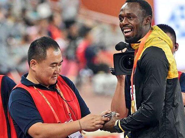 Usain Bolt y el camarógrafo hicieron las pases