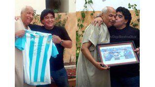 Maradona visitó al árbitro de la Mano de Dios