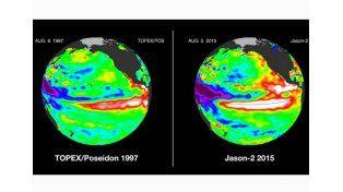 Comparación de la temperatura del océano Pacífico entre 1997 (izquierda) y 2015 (derecha). Foto: Nasa