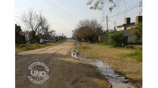 El agua de un caño roto dificulta el ingreso a una escuela de Paraná