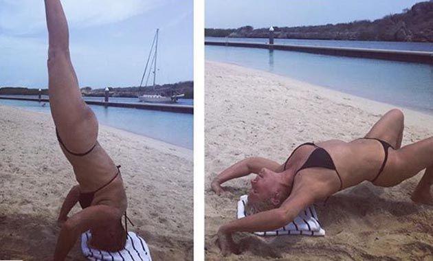 Xuxa dio que hablar al practicar yoga en la playa con microbikini