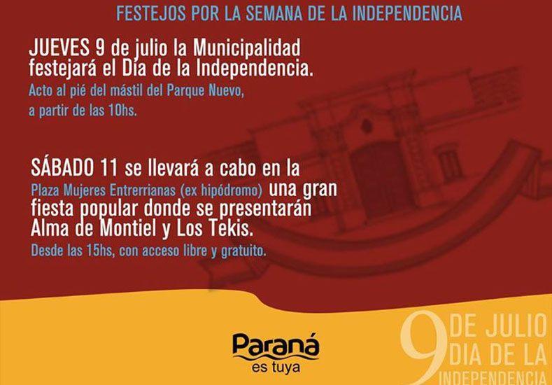 El acto del Día de la Independencia se hará en el Parque Nuevo