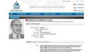 González tiene 64 años y vivió la última década en Brasil. Foto: Captura de pantalla web Interpol
