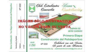 En campaña. Imagen del bono contribución que lanzó a la venta el club Estudiantes de Concordia para crecer en obras.