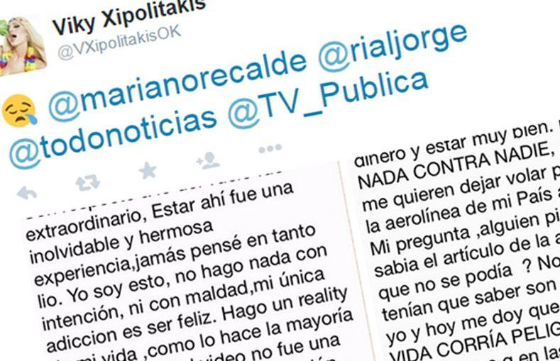 La insólita carta de disculpas de Vicky Xipolitakis