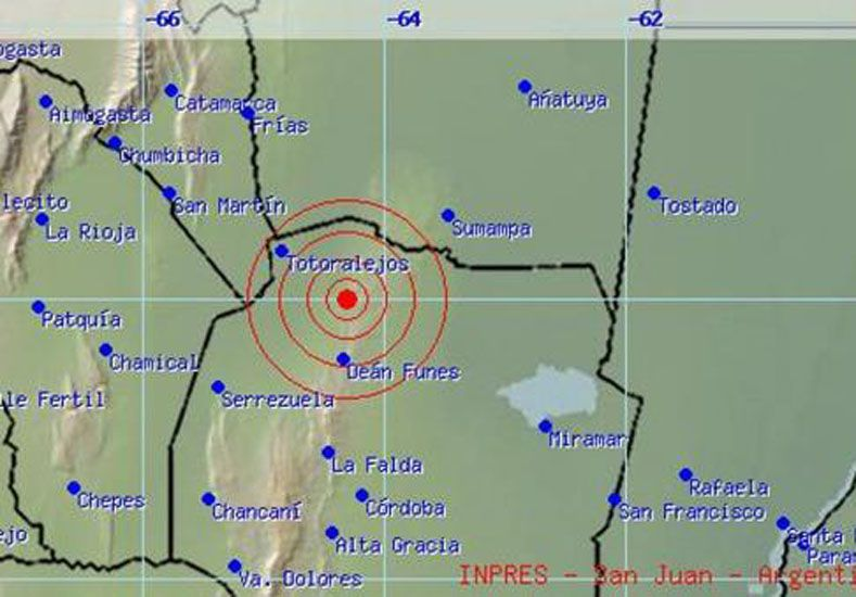 Un sismo sacudió el norte de Córdoba