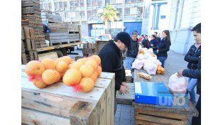 Sin descanso. Los productores del Departamento Federación trajeron 7.000 kilos de cítricos.  Foto UNO/Juan Ignacio Pereira