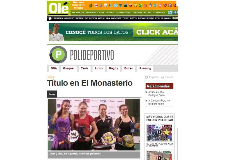 Otro más. El diario deportivo Olé destacó el triunfo de la jugadora de Paraná junto a Delfina Brea