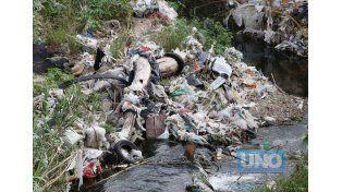 Contaminación. La foto fue tomada ayer en el arroyo Las Viejas de Paraná.   Foto UNO/Diego Arias