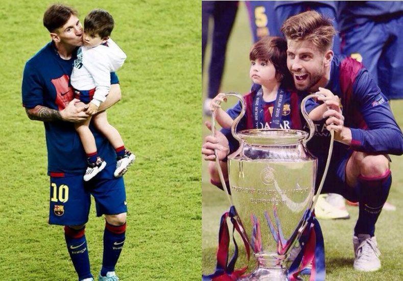 Las fotos del festejo de Lionel Messi y Gerard Piqué junto a sus hijos
