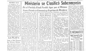 Ministerio: a 50 años del subcampeonato nacional de clubes
