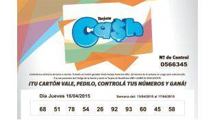 Estos son los números de la Tarjeta CASH de la semana del 13 al 17 de abril
