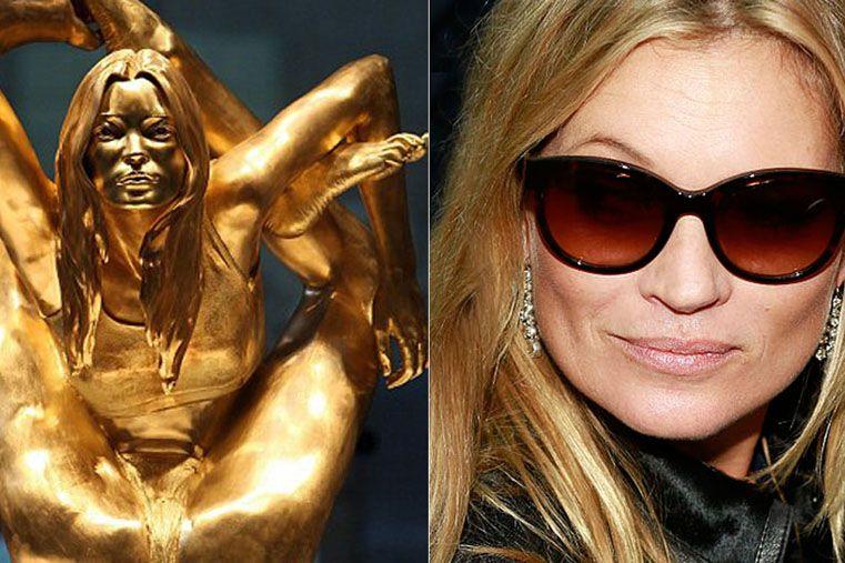 Esta estatua en oro de la modelo Kate Moss es una obra de arte de Marc Quinn. Lo más exótico no es el rostro
