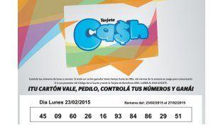 Números de la Tarjeta Cash correspondientes a la semana del 23 al 27 de febrero