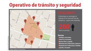 Se reordenará el tránsito en la zona de Casa de Gobierno por el discurso de Urribarri