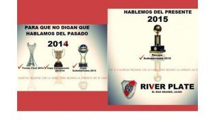 Los afiches de los hinchas de River dedicados a San Lorenzo y algunos a Boca