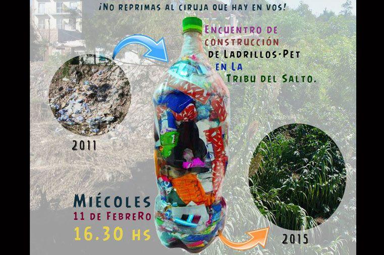 La Tribu del Salto invita a construir ladrillos con basura sacada del arroyo La Santiagueña