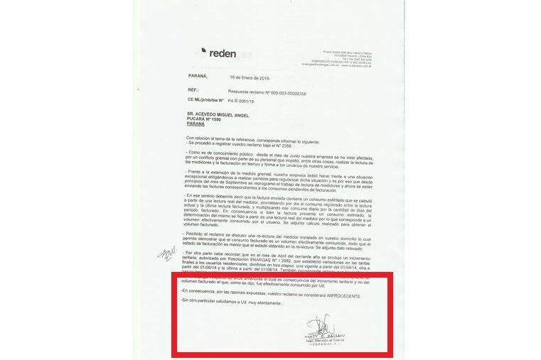 Respuesta de Redengas al reclamo sonde se indica que la denuncia es improcedente
