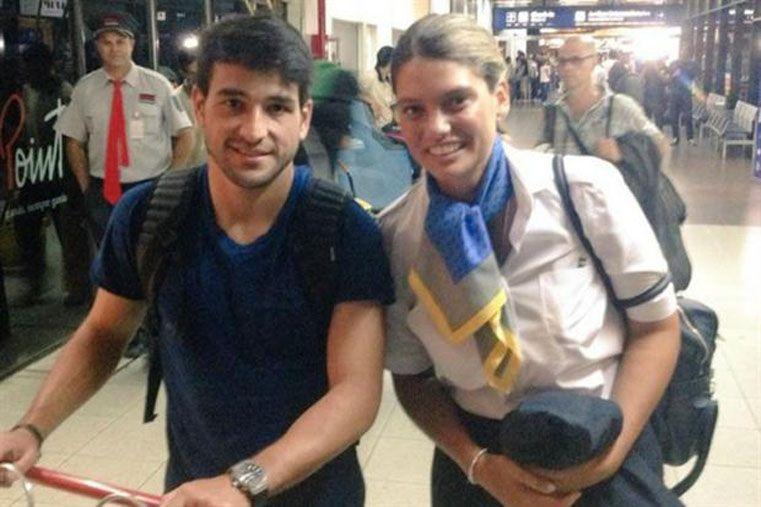 Nicolás Lodeiro en su llegada a Aeroparque.  Foto: @brenforwood
