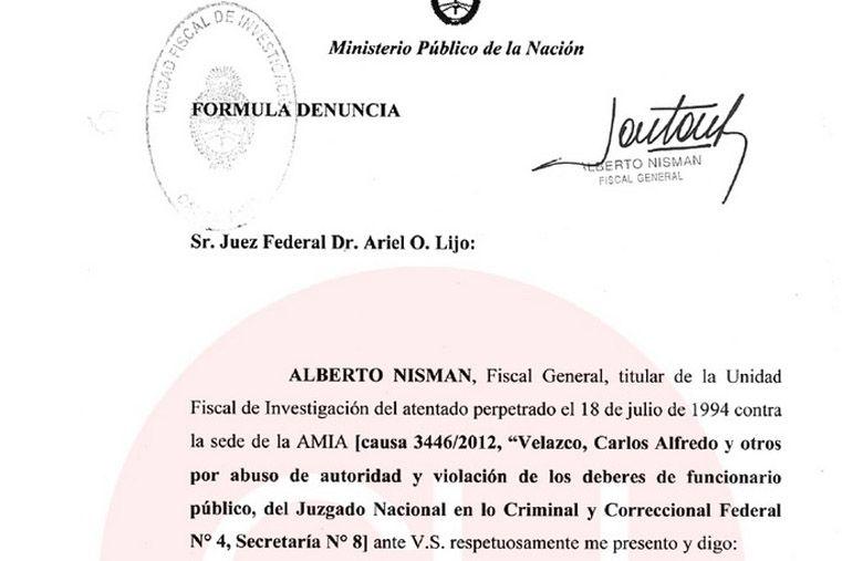 Imagen capturada de la denuncia de Nisman.