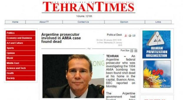 La prensa iraní habló de la muerte de Nisman