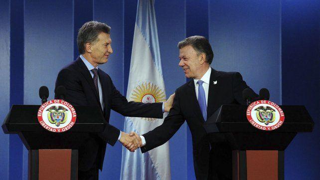 Mauricio Macri y Juan Manuel Santos.