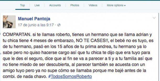 #TodosSomosRoberto: el relato de un chisme que escuchó en la combi, compartió y se viralizó