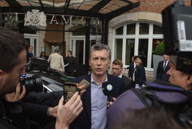 Macri hizo declaraciones al llegar a Bruselas.