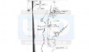 Croquis. En la zona de bañados del Paraná XVI apareció el cuerpo desnudo y elementos alrededor.