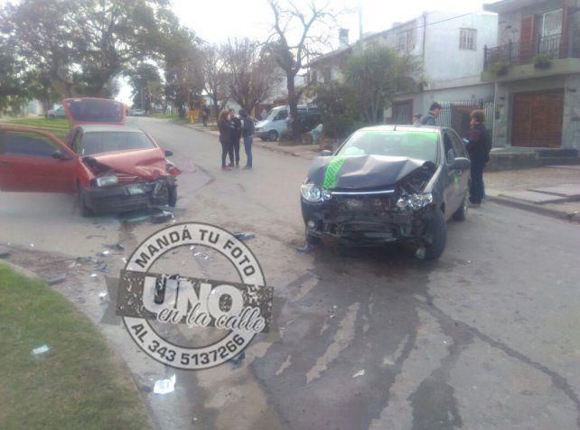 Fuerte choque en calle Santos Domínguez