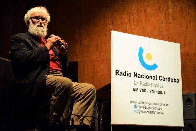 Leonardo Boff en la primera actividad que realizó ayer en Córdoba. Foto gentilezaNayla Azzinnari/Fundación Right Livelihood Award.