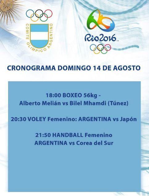 El cronograma de participaciones argentinas para hoy