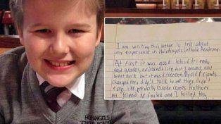 Un nene víctima de bullying se suicidó y dejó una carta