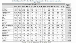 Evolución de los Precios de Origen promedio de productos agrícolas.Julio 2016