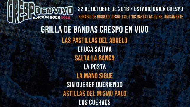 Crespo tendrá en octubre su Edición Rock 2016