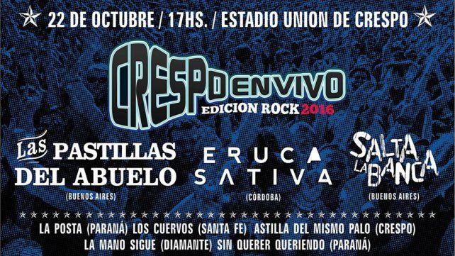 Brindaron más detalles del Crespo en Vivo Edición Rock 2016