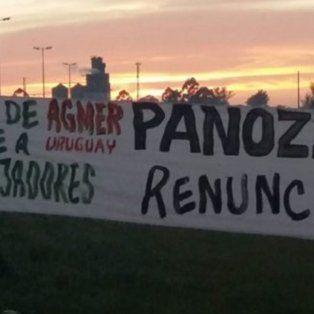 protesta en concepcion del uruguay por la presencia del presidente del cge